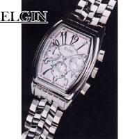 送料無料ELGINクロノグラフ シルバー 男性用FK1215S◆エルジン腕時計/メンズ腕時計/メンズ時計/男性用腕時計/プレゼント/贈物/ギフト
