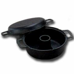 送料無料 岩鋳【南部鉄器】 パン焼器 24033■ガスコンロでふっくらドーナツパン♪鋳物 鉄鍋