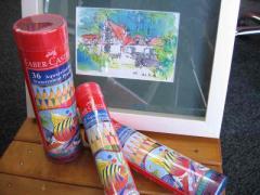 水彩色鉛筆丸缶12色セット・筆付・FABER-CASTELL/ファーバーカステル【シャチハタ】TFC-115912