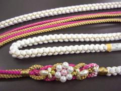 振袖成人式&着物に パール飾り付3色使い正絹帯締め帯〆白