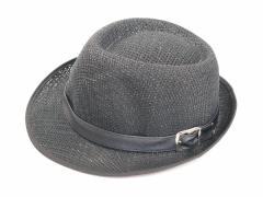 定形外送料無料 ストローハット 黒色【ブラック/中折れ帽子/おしゃれメンズ/可愛いレディースHAT】CAP-002ゲリラ 『T』┃