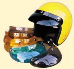 どんなヘルメットにも合わせやすい形のショートバイザー  バイクヘルメット用バイザー
