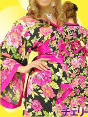 小悪魔ageha★浴衣にも!おいらん和柄着物セクシーロングドレス大花柄★振袖風★帯、帯揚げセット