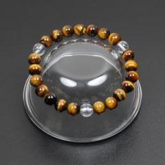 【メール便 送料無料】天然石 ブレスレット タイガーアイ+3ポイント水晶 8mm玉【虎目石*クリスタルクォーツ 8ミリ数珠ブレス】 ┃