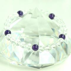 メール便 送料無料 天然石 ブレスレット 水晶+アメジスト5個 6mm玉【クリスタルクォーツ*紫水晶 6ミリ数珠ブレスレット】 ┃