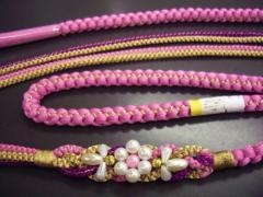 振袖成人式&着物に パール飾り付3色使い正絹帯締め帯〆ピンク