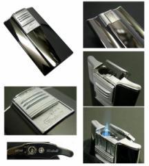 送料205円〜バーナーライター 超薄型9mm斬新アーチ形状ARCガスライター(黒Ni磨き)ターボライターを発明したWindmill社製 再注入式
