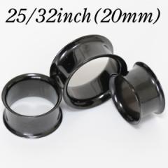 【メール便 送料無料】ダブルフレア アイレット ブラック 25/32インチ(20mm) Anodized Black【ボディーピアス/ボディピアス】  ┃