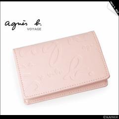 agnes b(アニエスべー) モノグラム★カードケース ピンク SALE