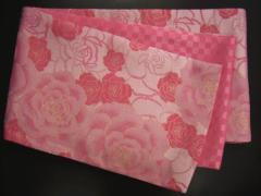 振袖成人式&着物に お仕立上がり全通袋帯ピンク地大輪薔薇