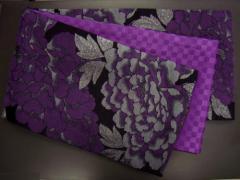 振袖成人式&着物に お仕立上がり全通袋帯黒地紫大輪牡丹