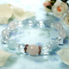 天然石MIX天然水晶×アクアマリン×ローズクォーツパワーストーンブレスレット(fukusu natural stone bracelet)