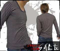 【在庫一掃セール】【BENO】3色ボーダーTEE■ブラック×グレー×ブラウン【型番BE-0000】