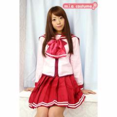 ◆コスプレ コスチューム 制服 セーラー服◆ハートフル学園制服 色:ピンク サイズ:M/BIG