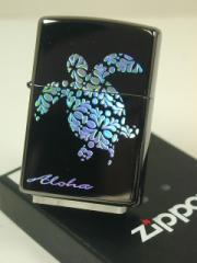 ジッポーZippo亀タートル(ホログラム)ブラック黒 ハワイアン・カメ新品