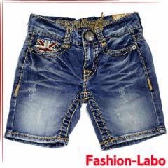 [あす着]NEW YORK PAPA 刺繍 デニム ユニオンジャック ワッペン クラッシュ ショートパンツ 半ズボン 韓国子供服 ns-022