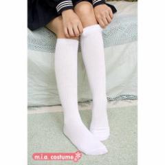 ◆制服 ソックス スクール制服 セーラー服◆リブハイクルーソックス 色:白 サイズ:フリー
