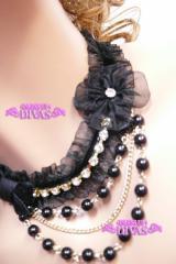 オーガンジーレース、パールとキラキラストーンのtiny花コサージュ小悪魔Cuteドレスチョーカーネックレス