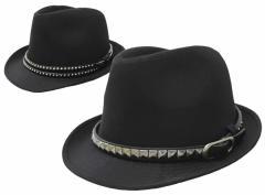 帽子/メンズ/ブラックボディー&ベルトテープ中折れハット