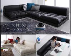 【送料無料】合皮フロアコーナーソファー3点・クッション付/日本製『3色対応』合成皮革