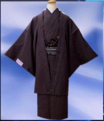 お正月&各記念日に♪お仕立て上がり男物着物あとは着るだけフルセット紫×黒ラインM・L・LL