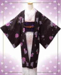 小粋な長羽織濃茶地牡丹唐草M・L 和装着物冬の必需品