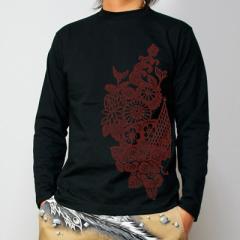 和柄むかしむかし長袖Tシャツ 紅型文様