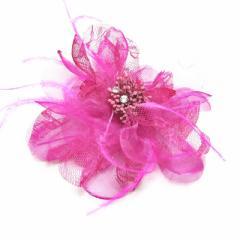 DCX002ピンク・入園式・卒園式・パーティー・二次会・髪飾り・ラインストーン・羽付コサージュ・クリップ2WAYタイプ