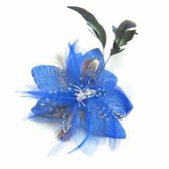 DCX001入園式・卒園式・パーティー・二次会・髪飾り・ラインストーン・羽付コサージュ・クリップ2WAYタイプ◆ブルー