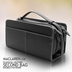 ブランド マクラーレン ダブルファスナー メンズ セカンドバッグ ボックスタイプ ちょいワル系 金融系 AN-2133 黒