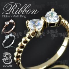 『プリンセスの風格をもつ♪CZダイヤリボンデザインリング』レディースアクセサリー指輪ネックレスペンダントピアス