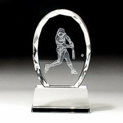 【名入れ/彫刻】スポーツトロフィー/バッター/野球/CRS-03◆クリスタルガラス/ダイヤカット、記念品