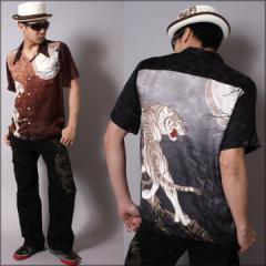花旅楽団SCRIPT[月夜に虎]シルク半袖 和柄アロハシャツ(SS-005)【送料無料】(R物)半袖シャツ メンズ はなたび