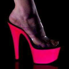 取寄せ靴 蛍光色厚底サンダル 2連クリアストラップ 17.5cmヒール ネオンピンク Pleaser プリーザー