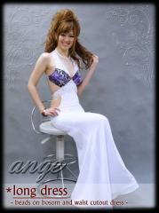 D1204-705/キャバドレス/シフォン 胸元フラワープリント ウエストカットドレス