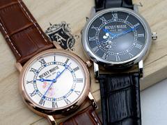 (8割引) 高級時計 Disney ディズニー ミッキー 腕時計 本牛革 クロコ型押しベルト スワロフスキー使用 ライセンス取得商品 全2色