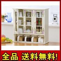 【送料無料!ポイント2%】便利な調味料ケース付き!キッチン上置きラック3枚扉