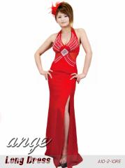 LD1206-929/シフォン胸元キラキラ ウエストシースルー ロングドレス