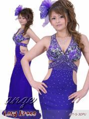 LD1206-941/シフォン 胸元フラワープリント ウエストカットドレス