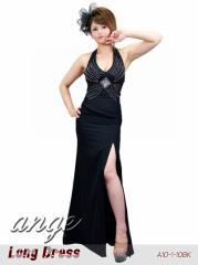 LD1206-928/キャバドレス/シフォン胸元キラキラ ウエストシースルー ロングドレス