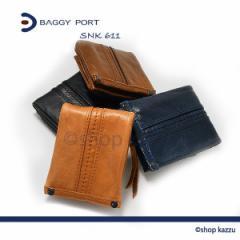 BAGGY PORT バギーポート 二つ折り財布 メンズ 牛革 L字ファスナー小銭入れ(4色)【SNK-611】