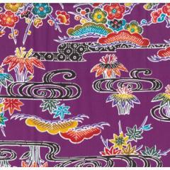 紅型柄 プリント生地 紫 巾114cm×長100cm