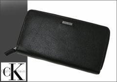 送料無料 Calvin Klein/カルバン・クライン レザーロゴプレート ラウンドファスナー長財布 79441 ブラック