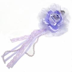 DCX030 薄紫 浴衣・結婚式・花・入園式・卒園式・パーティー・二次会・髪飾り・羽付コサージュ・クリップ2WAYタイプ