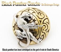 50%OFF【黒豹ブラックパンサー】タトゥーデザイン!!アニマル/シルバーコンチョ・財布のカスタムパーツに!!シルバー925