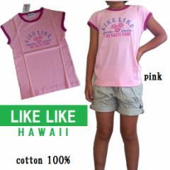 プチプラ★LIKE LIKE★コットン100%Tシャツ PINK /サーフ カジュアル アウトレット 処分価格
