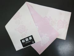 浴衣ゆかた&袴に 小粋な半巾帯半幅帯オフホワイト地薄ピンク薔薇