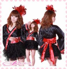 あす楽 コスプレ衣装 セクシー 着物ドレス コスチューム 人気 キュート ハロウィン衣装 黒 パニエ