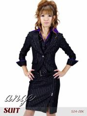 S1210-202/キャバスーツ/パープルシャツ&ベスト付きラメストライプスーツ☆ロングスカート