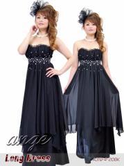 LD1208-308/キャバドレス/シフォンベアートップ胸元ストーンロングドレス